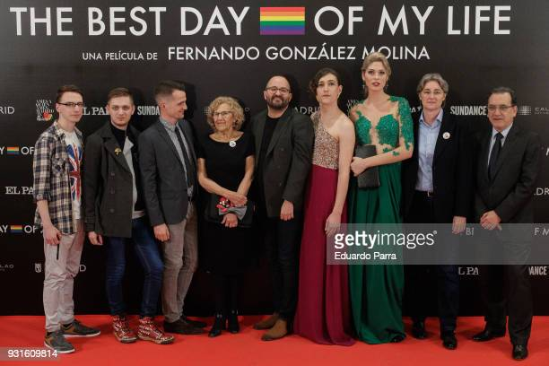 Mayor of Madrid Manuela Carmena and director Fernando Gonzalez Molina attend the 'The Best Day of My Life' premiere at Callao cinema on March 13 2018...