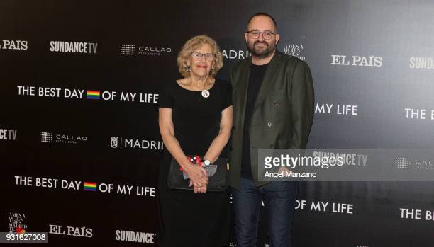 Mayor of Madrid Manuela Carmena and director Fernando Gonzalez Molina attend 'The Best Day Of My Life' Madrid premiere at Callao cinema on March 13...