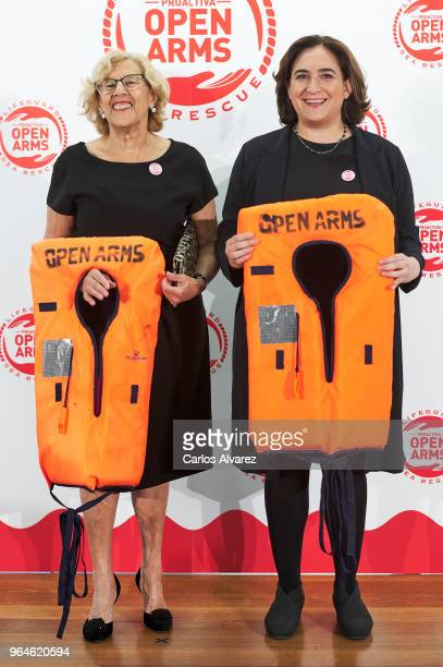 Mayor of Madrid Manuela Carmena and Mayor of Barcelona Ada Colau attend a dinner to benefit the Spanish humanitarian NGO Proactiva Open Arms at the...