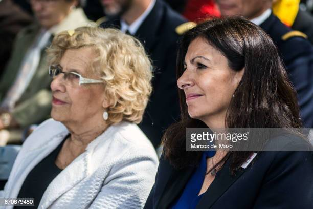 Mayor of Madrid Manuela Carmena and Mayor of Paris Anne Hidalgo during the commemoration of the Garden of the fighters of The Nine the battalion of...