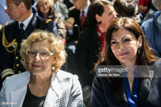 "Mayor of Madrid Manuela Carmena and Mayor of Paris Anne Hidalgo during the commemoration of the Garden of the fighters of ""The Nine"", the battalion..."