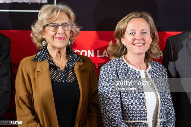Mayor of Madrid Manuela Carmena and Minister of Economy and Business Nadia Calvino attend 'El Quijote' lecture at Circulo De Bellas Artes on April...