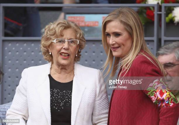 Mayor of Madrid Manuela Carmena attends the match between Rafael Nadal of Spain and Dominic Thiem of Austria in the final during day nine of the...