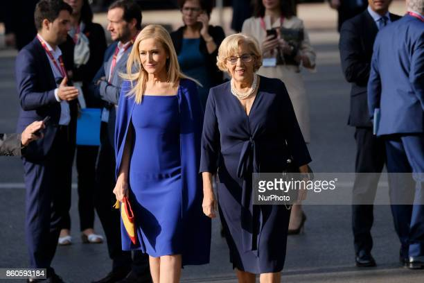 Mayor of Madrid Manuela Carmena President of the Community of Madrid Cristina Cifuentes attend the National Day Military Parade 2017 on October 12...
