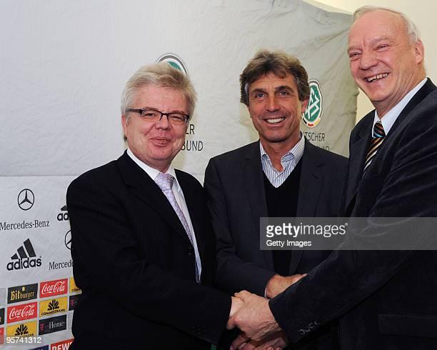 Mayor of Magdeburg Ruediger Koch German Coach Rainer Adrion and DFBVicePresident HansGeorg Moldenhauer pose during the U21 European Qualification...