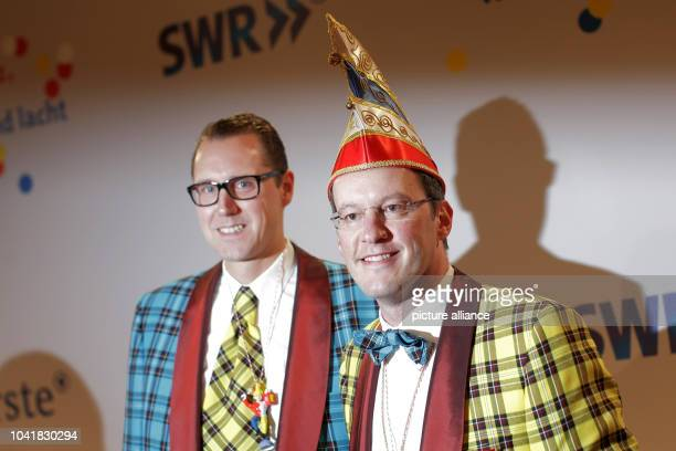 Mayor of Mainz Michael Ebling and his partner Andreas Schulz arrive for broadcasting of the television carnival programme 'Mainz bleibt Mainz wie es...