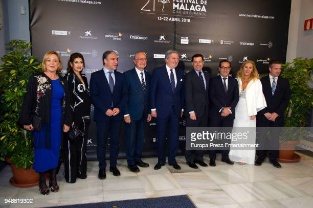 Mayor of Malaga Francisco de la Torre Prados President of Andalusia Susana Diaz Minister of Culture Inigo Mendez de Vigo and Juanma Moreno attend...
