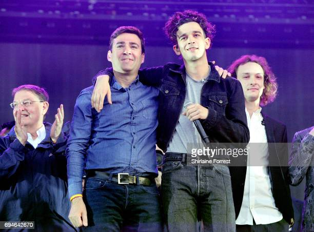 Mayor of Manchester Andy Burnham and Matthew Healy of The 1975 address the crowd giving a speech for strength regarding the Manchester attack before...