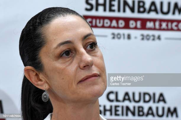 Mayor of Mexico City Claudia Sheinbaum speaks during a press conference to announce the new Mexico City's new cabinet Member and Secretary of Health...
