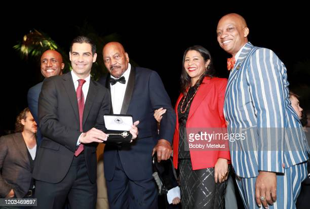 Mayor of Miami Francis X Suarez and Jim Brown attends 2020 Big Game Big Give at Star Island on February 01 2020 in Miami Florida