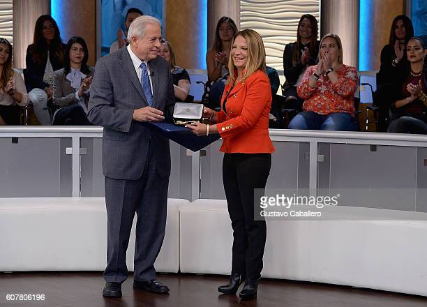 Mayor of Miami Tomas Regalado and Ana Maria Polo receives key to the City Of Miami on September 1 2016 in Miami Florida