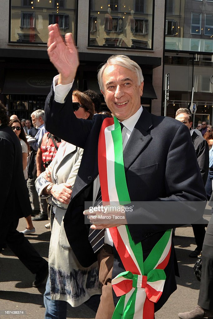 Mayor of Milan Giuliano Pisapia attends a march to mark the 68th Festa Della Liberazione on April 25, 2013 in Milan, Italy.The symbolic celebration day commemorates the Liberation of Italy and the Italian resistance movement after the Nazi occupation army left Northern Italy on April 25, 1945.