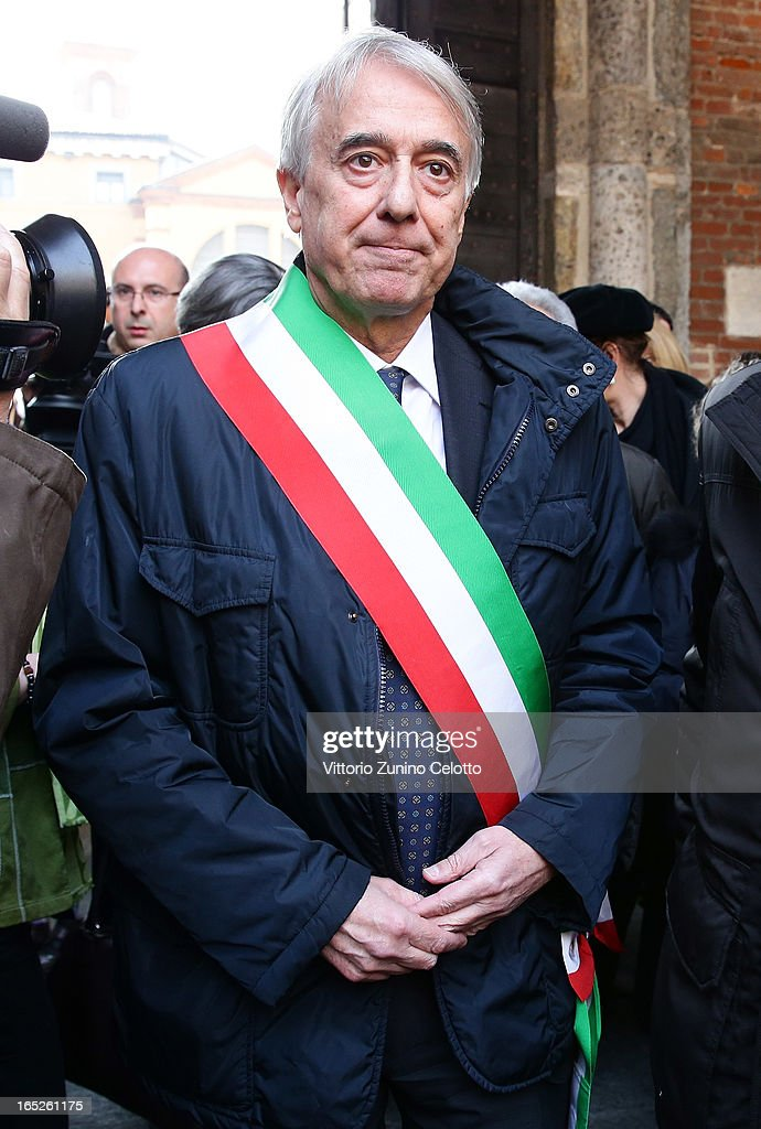 Mayor of Milan Giuliano Pisapia attends the funeral of Singer Enzo Jannacci at Basilica di Sant'Ambrogio on April 2, 2013 in Milan, Italy.