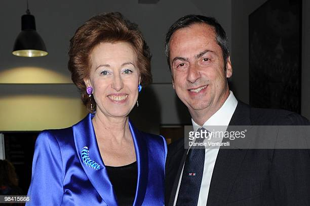 Mayor of Milan Letizia Moratti and Carlo Traglio attend the Tar Mag Issue 3 Gala Dinner held at loft Vhernier on April 12 2010 in Milan Italy