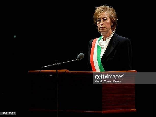 Mayor of Milan Letizia Moratti makes a speech during the celebrations of Italy's Liberation Day held at Teatro Alla Scala on April 24 2010 in Milan...