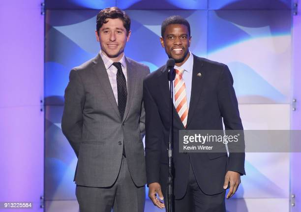 Mayor of Minneapolis MN Jacob Frey and Mayor of St Paul MN Melvin Carter speak onstage during BET Presents 19th Annual Super Bowl Gospel Celebration...