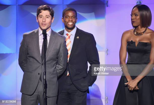 Mayor of Minneapolis MN Jacob Frey Mayor of St Paul MN Melvin Carter and Host Yvonne Orji speak onstage during BET Presents 19th Annual Super Bowl...
