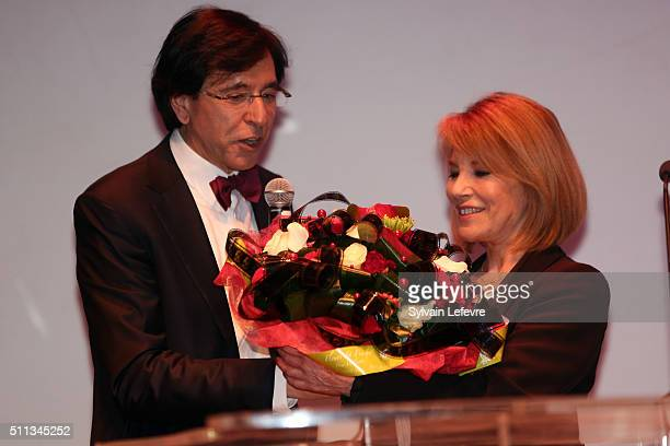 Mayor of Mons Elio Di Rupo and french actress Nicole Calfan attends the 32nd Mons International Love Film Festival Opening Ceremony on February 19...
