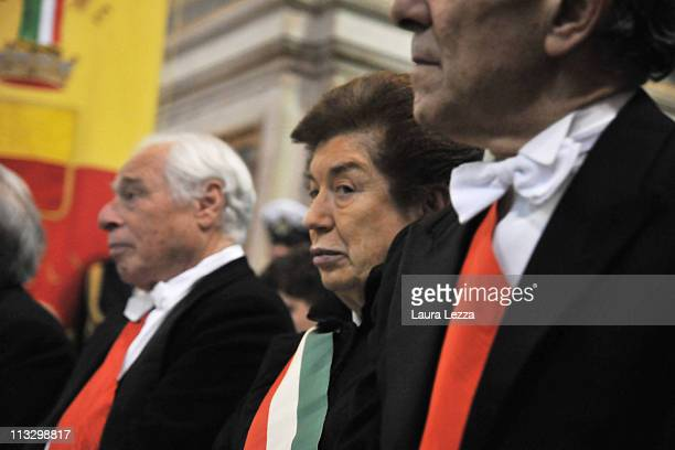 Mayor of Naples Rosa Russo Iervolino attends the ceremony on the day of the blood miracle at Naples Cathedral on April 30 2011 in Naples Italy...