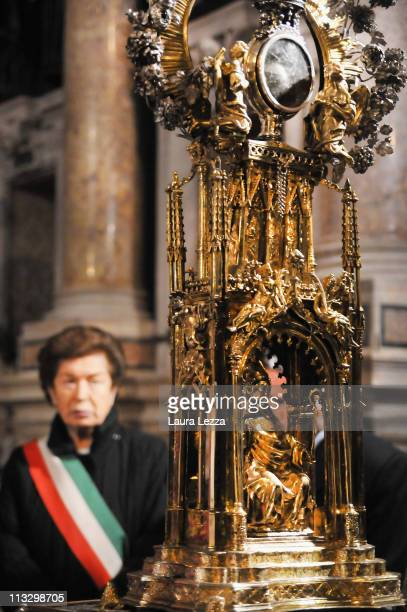 Mayor of Naples Rosa Russo Iervolino stands behind the reliquary containing the two vials of the blood of San Gennaro during a ceremony on the day...