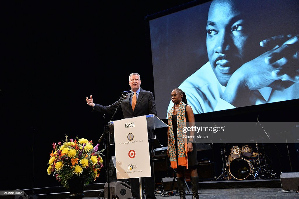 Mayor of New York City Bill De Blasio (L) and First Lady Chirlane McCray attend BAM's 30th Annual Tribute To Dr. Martin Luther King, Jr. at BAM Howard Gilman Opera House on January 18, 2016 in New York City.