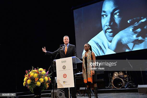 Mayor of New York City Bill De Blasio and First Lady Chirlane McCray attend BAM's 30th Annual Tribute To Dr Martin Luther King Jr at BAM Howard...