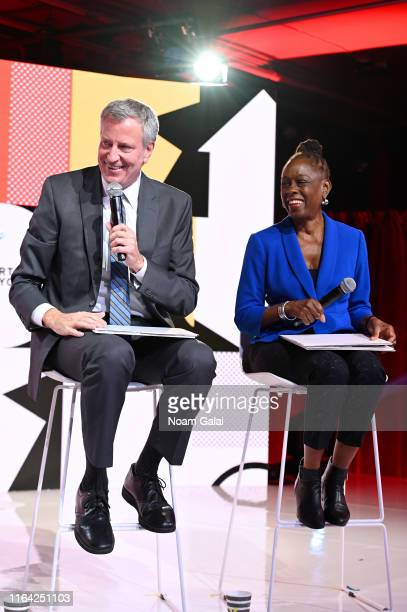 Mayor of New York City Bill de Blasio and First Lady of New York City Chirlane McCray speak onstage during Internet Live By BuzzFeed at Webster Hall...