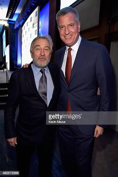 Mayor of New York City Bill de Blasio and Honoree Robert De Niro attend the RFK Ripple Of Hope Gala at Hilton Hotel Midtown on December 16 2014 in...