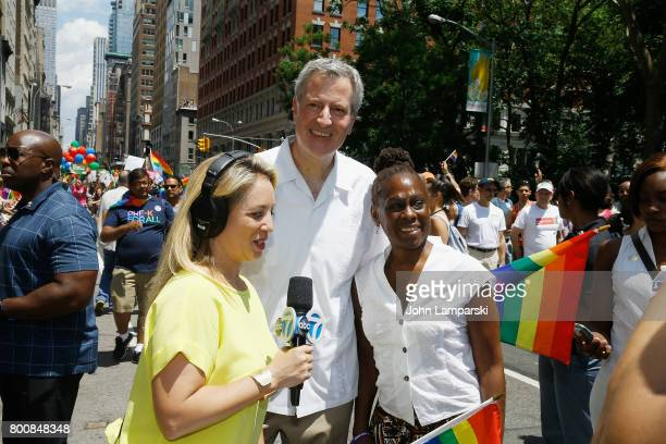 Mayor of New York City Bill de Blasio and wife Chirlane McCray partecipate in The March at the New York City Pride 2017 on June 25 2017 in New York...