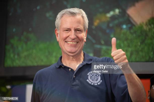 """Mayor of New York City Bill de Blasio attends the """"Hometown Heroes"""" Ticker Tape Parade on July 07, 2021 in New York, New York. Healthcare Workers,..."""