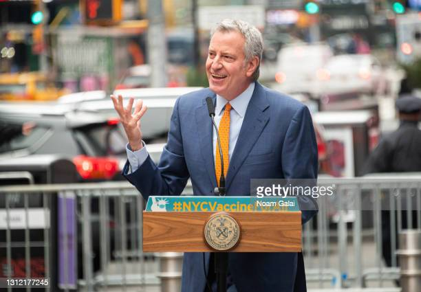 Mayor of New York City Bill de Blasio attends the opening of a vaccination center for Broadway workers in Times Square on April 12, 2021 in New York...