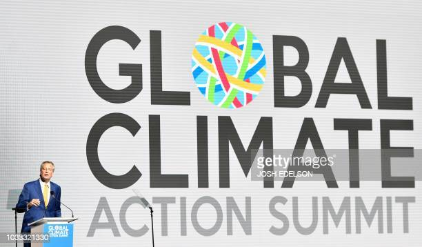 Mayor of New York City Bill de Blasio speaks during a plenary session of the Global Climate Action Summit in San Francisco California on September 14...