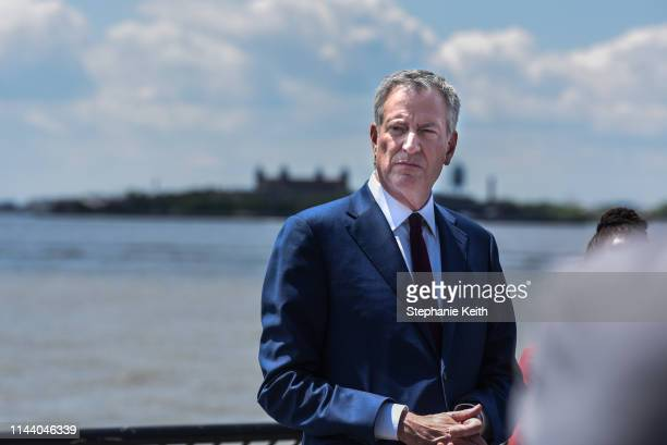 Mayor of New York City Bill de Blasio speaks to members of the media on May 16 2019 in New York City The Mayor addressed his presidential aspirations...
