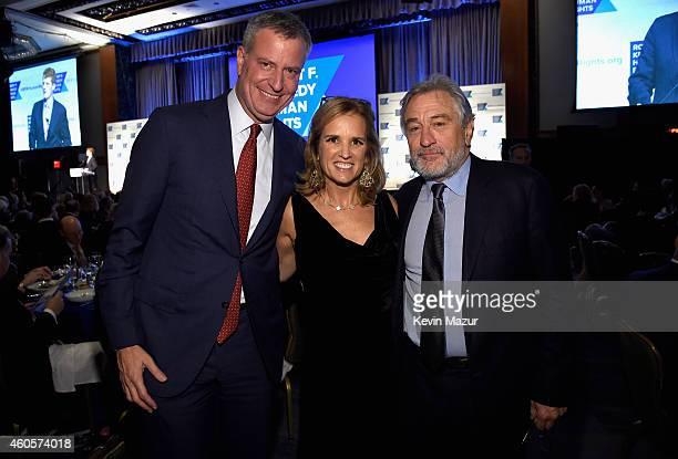 Mayor of New York City Bill de Blasio writer Kerry Kennedy and honoree Robert De Niro attend the RFK Ripple Of Hope Gala at Hilton Hotel Midtown on...