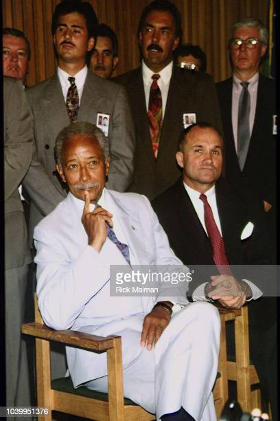 LR Mayor of New York City David Dinkins and Commissioner of the New York City Police Department Raymond Kelly during Lord West Formal Wear CEO Harvey...