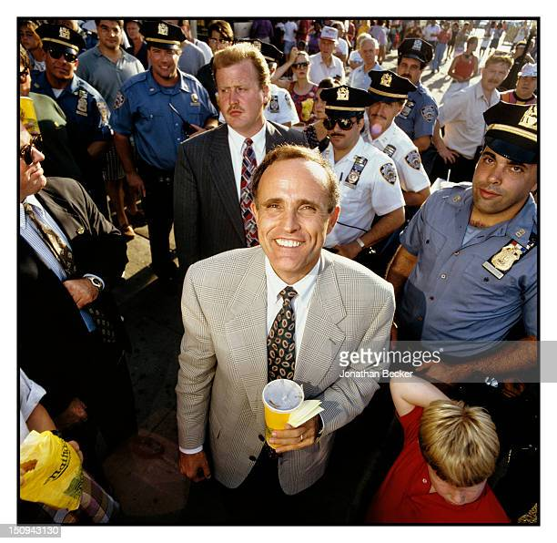 Mayor of New York City Rudolph Giuliani is photographed for Vanity Fair Magazine in September 1993 in New York City
