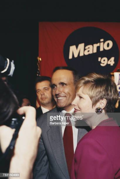 Mayor of New York City Rudy Giuliani and his wife Donna Hanover at the campaign headquarters of incumbent Governor of New York Mario Cuomo before the...