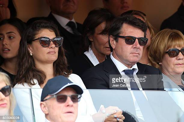 Mayor of Nice Christian Estrosi and his daughter Laetitia Estrosi attend the final of the 2016 MonteCarlo Rolex Masters at MonteCarlo Country Club on...