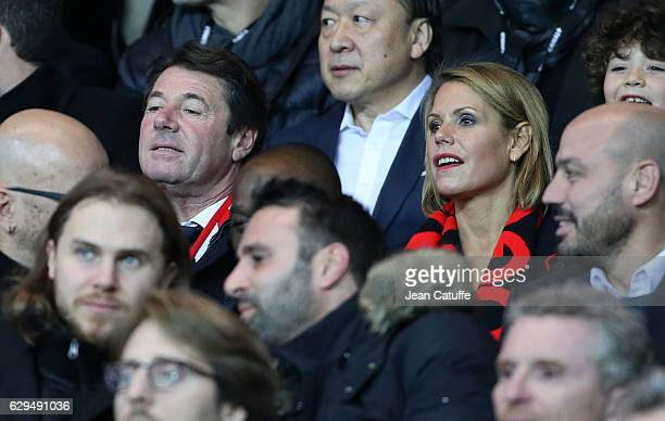 Mayor of Nice Christian Estrosi and his wife Laura Tenoudji attend the French Ligue 1 match between Paris Saint Germain and OGC Nice at Parc des...