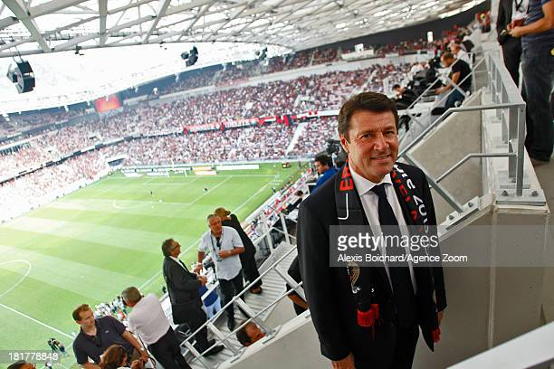 Mayor of Nice Christian Estrosi during the French Football League 1 match between OGC Nice and Valenciennes FC on September 22 2013 in Nice France