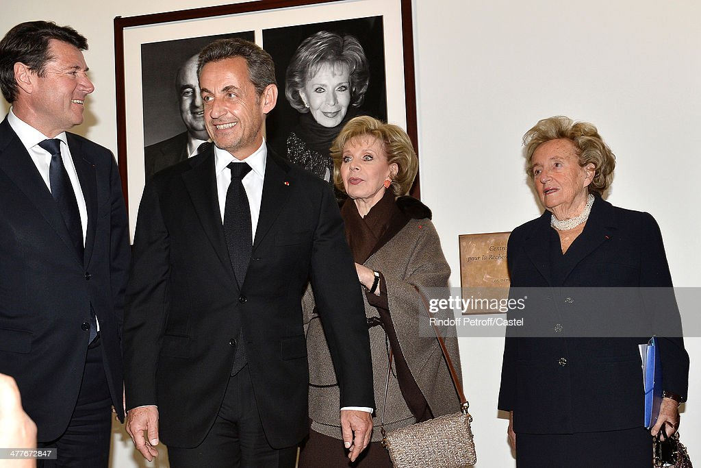 Mayor of Nice Christian Estrosi, Nicolas Sarkozy, Lily Safra and Bernadette Chirac attend the inauguration of the Claude Pompidou Institute dedicated to the fight against Alzheimer's disease. In Nice, on March 10, 2014