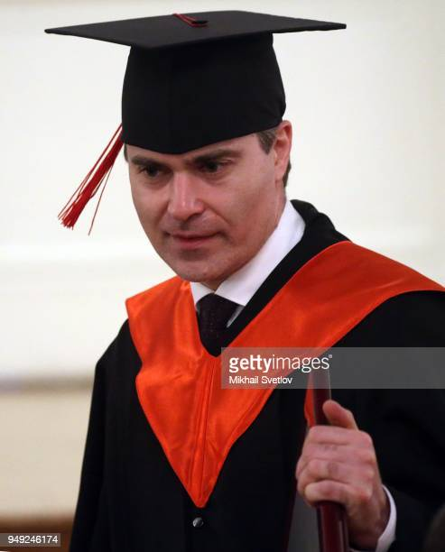 Mayor of Nizhny Novgorod Vladimir Panov attends a reception with graduates of the Leaders of Russia management school at the Kremlin in Moscow Russia...