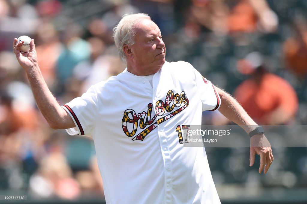 Mayor of Ocean City Maryland, Rick Meehan, throws out the first pitch during a baseball game between the Tampa Bay Rays and the Baltimore Orioles at Oriole Park at Camden Yards on July 29, 2018 in Baltimore, Maryland.