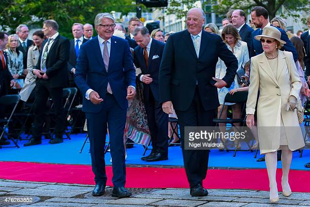 Mayor of Oslo Fabian Stang of Norway King Harald of Norway Queen Sonja of Norway attend the unveiling of a statue of King Olav V at the City Hall...