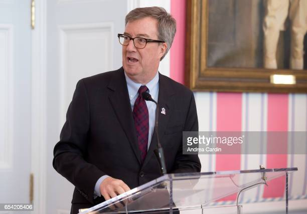 Mayor of Ottawa Jim Watson speaks during the Stanley Cup Homecoming as part of the Stanley Cups 125th anniversary celebrations on March 16, 2017 in...