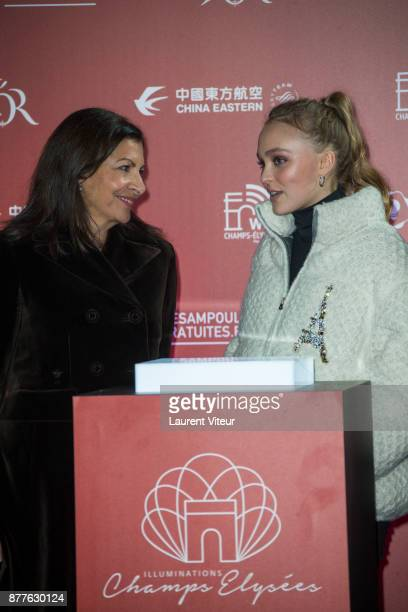 Mayor of Paris Anne Hidalgo and Actress LilyRose Deep launch Christmas Lights on the Champs Elysees on November 22 2017 in Paris France