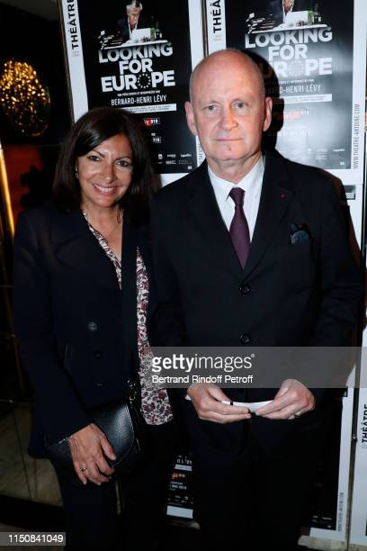 """Mayor of Paris Anne Hidalgo and Deputy Mayor of Paris for culture Christophe Girard attend Bernard-Henri Levy performs in """"Looking for Europe"""" at..."""
