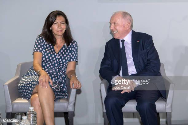 Mayor of Paris Anne Hidalgo and Francois Pinault attend the Press Conference to announce the transformation of the former Paris Stock Exchange into...