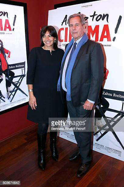 Mayor of Paris Anne Hidalgo and JeanLouis Debre attend the 'Arrete Ton Cinema ' Paris Premiere at Publicis Champs Elysees on January 6 2016 in Paris...