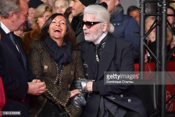 Mayor of Paris Anne Hidalgo and Karl Lagerfeld attend the Christmas Lights Launch On The Champs Elysees In Paris on November 22, 2018 in Paris,...